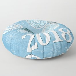blue 2018 with christmas balls Floor Pillow