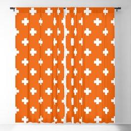White Swiss Cross Pattern on Orange background Blackout Curtain