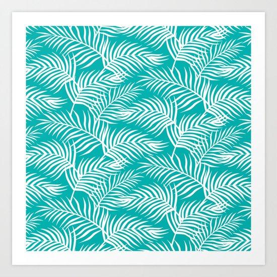 Palm Leaves_Teal Art Print