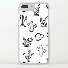 Funky Cactus Love Black and White Abstract Pattern Clear iPhone Case