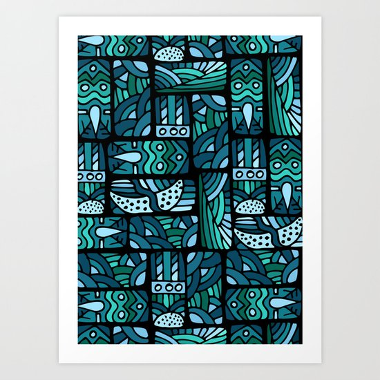 Ethnic blue pattern Art Print