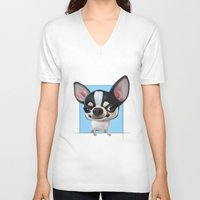 chihuahua V-neck T-shirts featuring Chihuahua by joearc