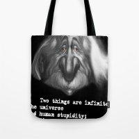 einstein Tote Bags featuring einstein by Andrei Sky