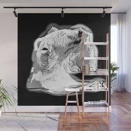 icebear polarbear enjoying vector art black white Wall Mural