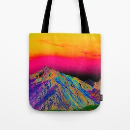 California's Sierra Mts-Digital Art, Green & Purple Tote Bag