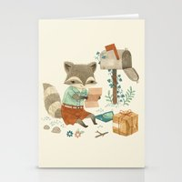 raccoon Stationery Cards featuring Raccoon Post by Teagan White