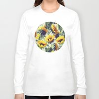 retro Long Sleeve T-shirts featuring Sunflowers Forever by micklyn