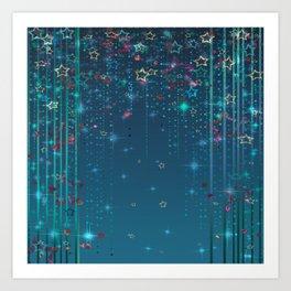 Magic fairy abstract shiny background with stars Art Print