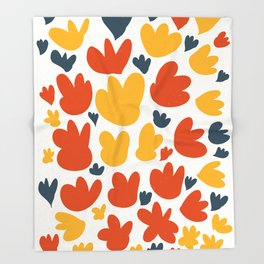 Heart Flowers Yellow Orange Blue Abstract Art Pattern Throw Blanket
