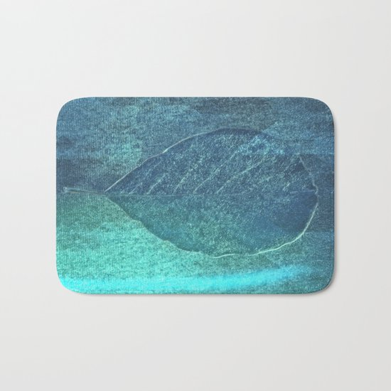 Light blue teal tonnes with an abstract leaf  Bath Mat