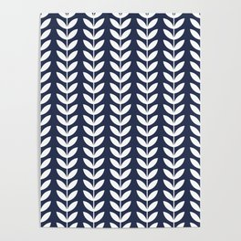 Navy Blue and White Scandinavian leaves pattern Poster