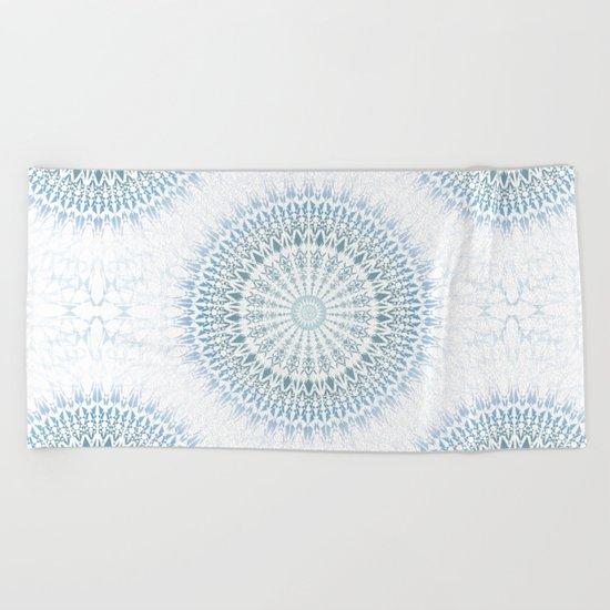 Grayish Blue White Mandala Beach Towel