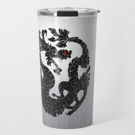 Black Oriental Dragon on Silver Travel Mug