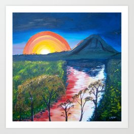Brisbane River and Mt Crosby at Sunset Art Print