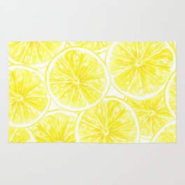 Lemon slices pattern watercolor Rug