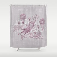 lucy Shower Curtains featuring Lucy in the sky by Vickn