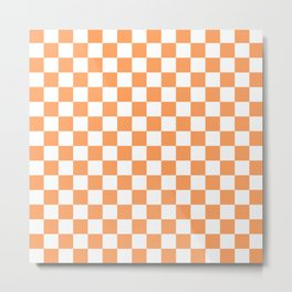 Gingham Orange Mango Checked Pattern Metal Print