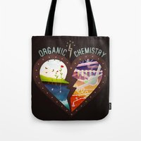 chemistry Tote Bags featuring Organic Chemistry by Jaclyn Tan