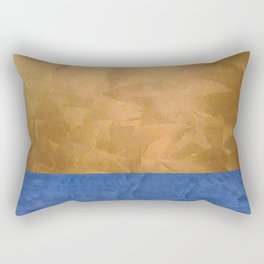 Copper Metallic With Tuscan Blue Stripe Trim - Corbin Henry Rectangular Pillow