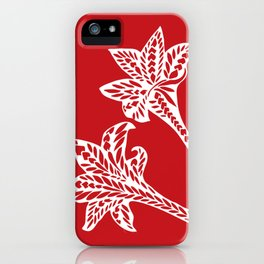 Retro Red Chic Polynesian Tribal Geometric Graphic Floral Tattoo iPhone Case