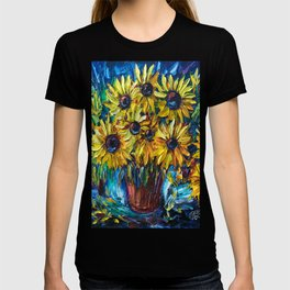 SUNFLOWERS in a Vase — Palette knife painting by OLena Art T-shirt