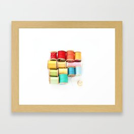 Colorful Needle and Thread Framed Art Print