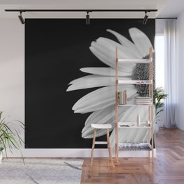 Half Daisy in Black and White Wall Mural