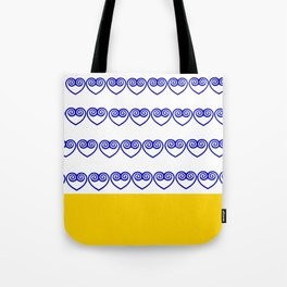 Blue Hmong heart and yellow bottom Tote Bag
