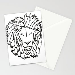 Lion Head In Black and White Line Drawing Stationery Cards