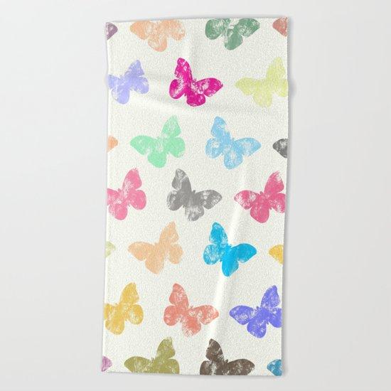 Colorful butterflies Beach Towel