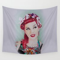 pinup Wall Tapestries featuring pinup sweety by Studio Joan