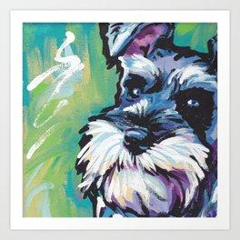 Fun Schnauzer Dog Portrait bright colorful Pop Art Painting by LEA Art Print