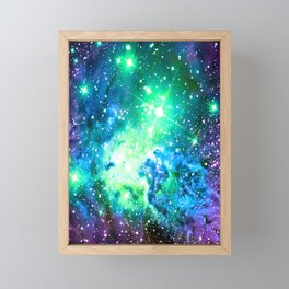 Fox Fur Nebula BRIGHT : Green Blue Purple Galaxy Framed Mini Art Print