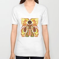 70s V-neck T-shirts featuring '70s Robot by Jim Nelson
