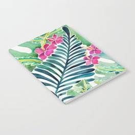 Lush Tropical Fronds & Hibiscus Notebook