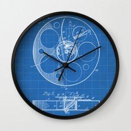 Film Reel Patent - Classic Cinema Art - Blueprint Wall Clock