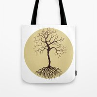 tree of life Tote Bags featuring life tree by Mihai Paraschiv