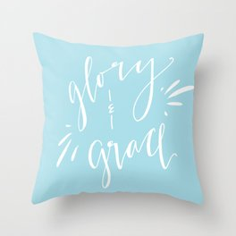 Glory and Grace // Blue Throw Pillow