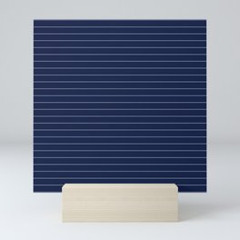 Navy Blue Pinstripe Lines Mini Art Print