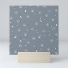 Boho third eye universe moon and stars pattern golden blue Mini Art Print