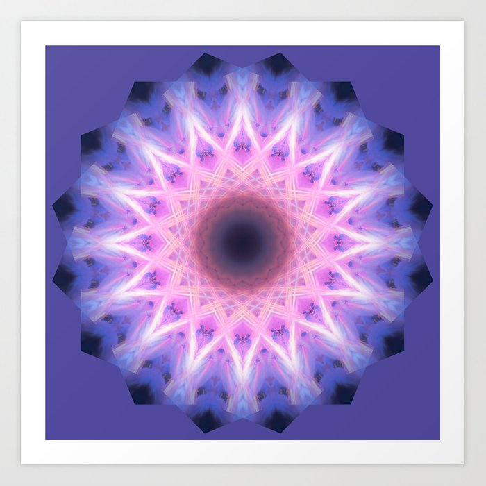 Electric Blue and Pink Mandala Art Print
