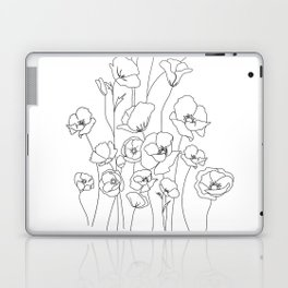 Poppy Flowers Line Art Laptop & iPad Skin