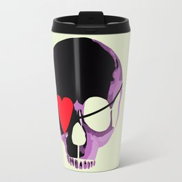 Pink skull with heart eyepatch Travel Mug