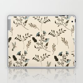 Ivory Cream and Bluebells and Bluebirds Floral Pattern Flowers in Blue and Bark Brown Laptop & iPad Skin