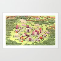 earthbound Art Prints featuring EarthBound - Town of Onett [Day] by Timothy J. Reynolds