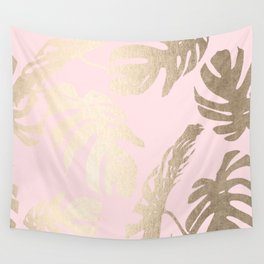 Simply Tropical Palm Leaves White Gold Sands on Flamingo Pink Wall Tapestry