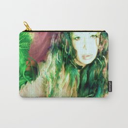 Fairy feather  fairy goddess green feathers  kashmir,art print  Carry-All Pouch