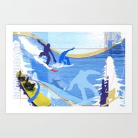 snowboarding Art Prints featuring Snowboarding by Robin Curtiss