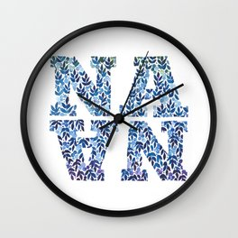 Modern Floral Nana Illustration Wall Clock