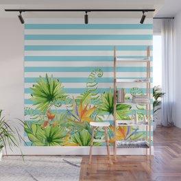 Tropical Chic Teal Blue Stripes Wall Mural